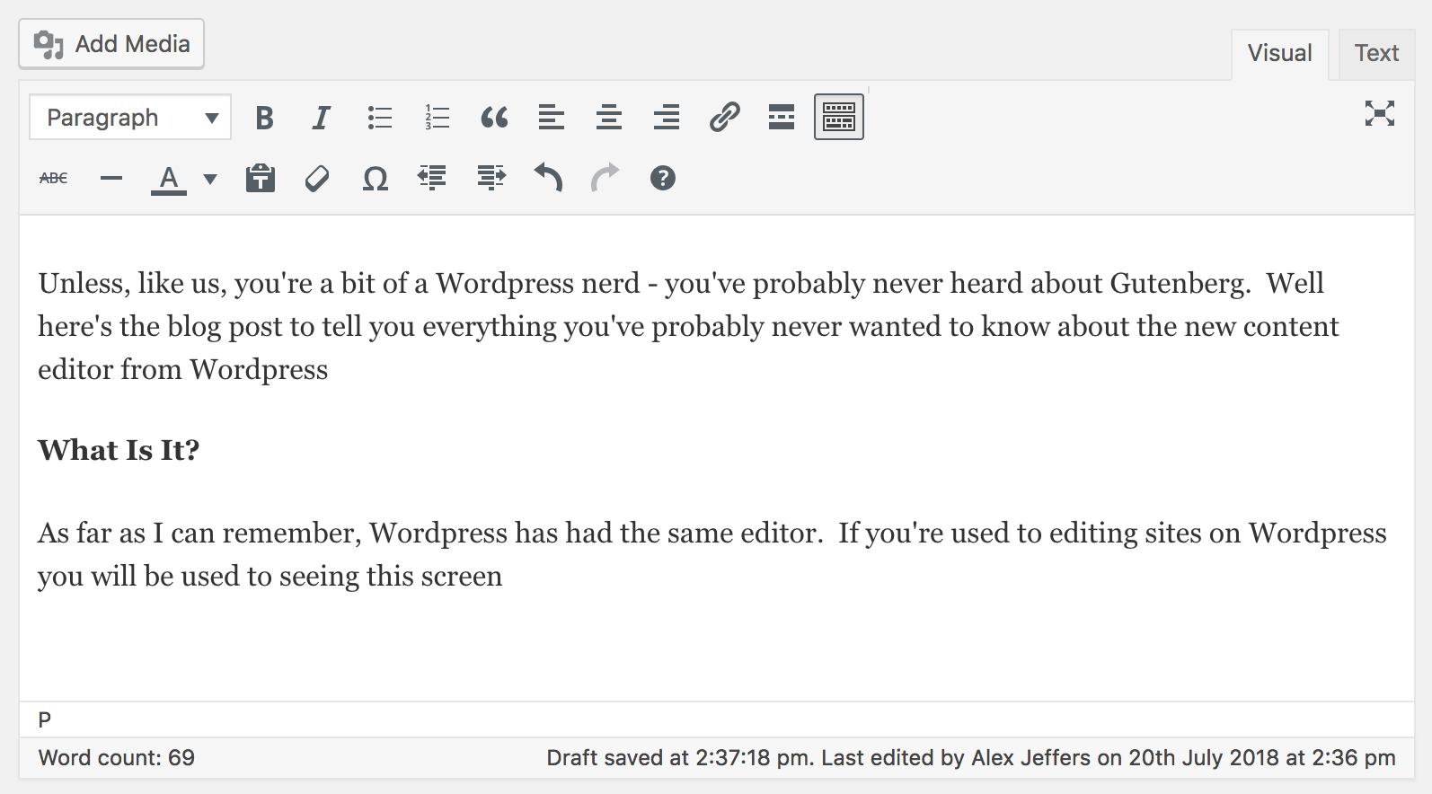 A Snapshot of the old WordPress Editor Before Gutenberg