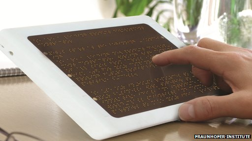 A prototype eReader device with a dynamic braille display.